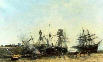 Portrieux, the Port at Low Tide, Unloading Fish