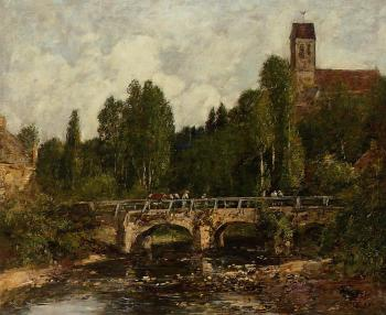 Eugene Boudin : Saint-Cenery, the Church and the Bridge