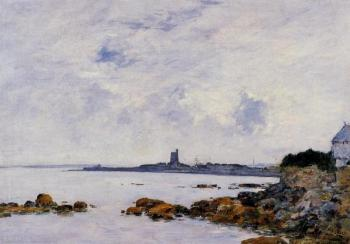 Eugene Boudin : Saintg-Vaast-la-Houghe, the Rocks and the Fort