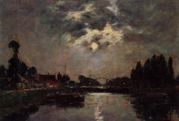Eugene Boudin : Saint-Valery-sur-Somme, Moonrise over the Canal