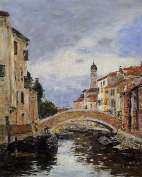 Eugene Boudin : Small Canal in Venice