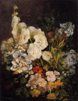 Spray of Flowers, Holyhocks