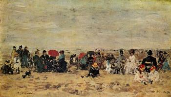 Eugene Boudin : The Beach at Trouville VI