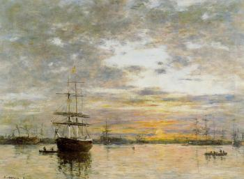 Eugene Boudin : The Port of Le Havre at Sunset