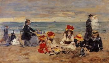 Eugene Boudin : Woman and Children on the Beach at Trouville