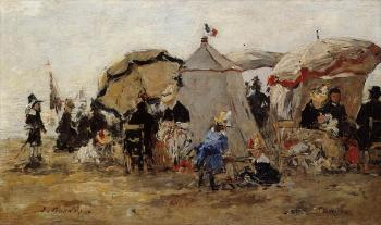 Eugene Boudin : Woman and Children on the Beach at Trouville II