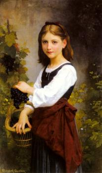 A Young Girl Holding a Basket of Grapes