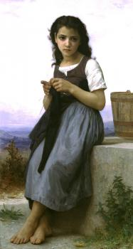 William-Adolphe Bouguereau : The Little Knitter