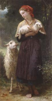 William-Adolphe Bouguereau : L'agneau nouveau-ne (The Newborn Lamb)