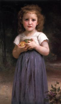 William-Adolphe Bouguereau : Petite fille tenant des pommes dans les mains (Little girl holding apples in her hands)