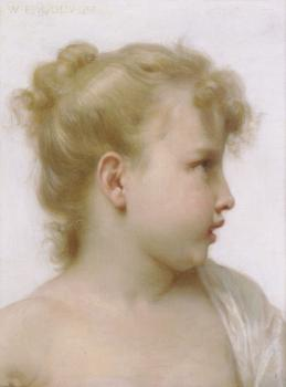 William-Adolphe Bouguereau : Etude : tete de petite fille , head of a little girl