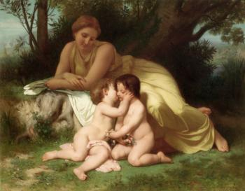 Jeune femme contemplant deux enfants qui s'embrassent , Young woman contemplating two embracing children