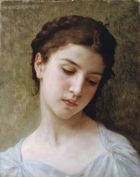 William-Adolphe Bouguereau : Etude : tete de jeune fille (Study : head of a young girl)