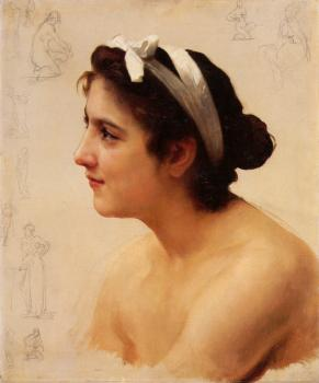 William-Adolphe Bouguereau : Etude d'une femme, pour Offrande a l'Amour (Study of a woman, for Offering to Love)