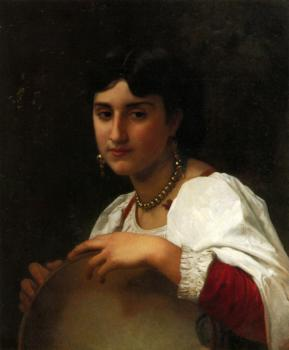 William-Adolphe Bouguereau : L'italienne au tambourin, Italian Girl with Tambourine