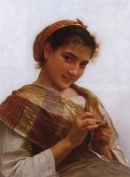 William-Adolphe Bouguereau : Jeune fille au crochet, Young girl crocheting.