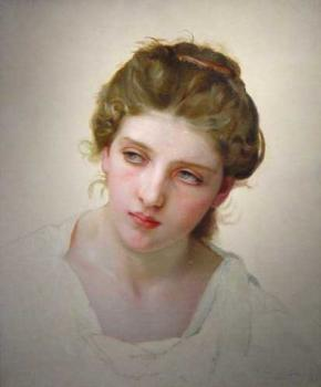 William-Adolphe Bouguereau : Etude de Tete de Femme Blonde de Face (Study of the Head of a Blonde Woman)