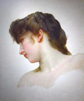 William-Adolphe Bouguereau : Etude de Tete de Femme Blonde Profil, Study of a Blonde Woman's Profile