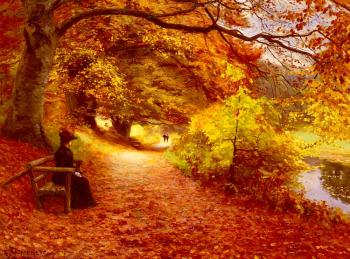 Hans Anderson Brendekilde : A Wooded Path In Autumn