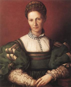 Agnolo Bronzino : Portrait Of A Lady In Green