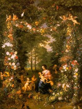 Holy Family in a Flower and Fruit Wreath (painted with Pieter van Avont)