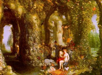 Jan The Elder Brueghel : A Fantastic Cave Landscape with Odysseus and Calypso