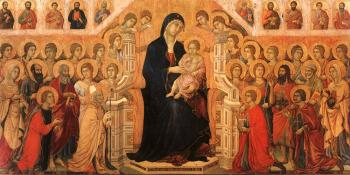 Duccio Di Buoninsegna : Madonna and Child Enthroned with Angels and Saints