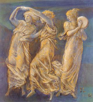Sir Edward Coley Burne-Jones : Three Female Figures Dancing And Playing
