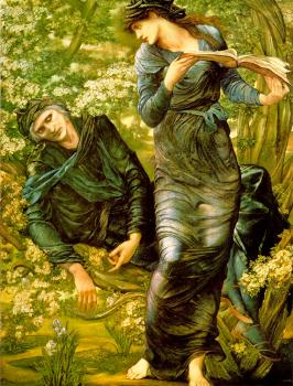 Sir Edward Coley Burne-Jones : The Beguiling of Merlin (Merlin and Vivien)