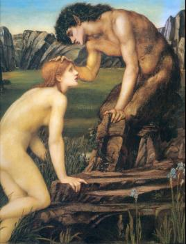 Sir Edward Coley Burne-Jones : Psyche and Pan