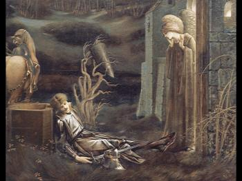 Sir Edward Coley Burne-Jones : The Dream of Launcelot at the Chapel of the San Graal