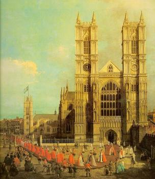 Canaletto : London, Westminster Abbey with a Procession of the Knights of the Bath
