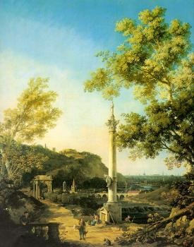 Canaletto : Capriccio, River Landscape with a Column, a Ruined Roman Arch, and Reminiscences of England
