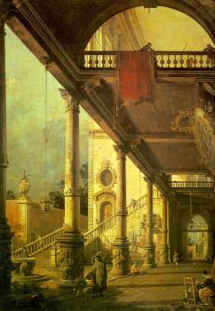 Canaletto : Capriccio, A Colonnade Opening onto the Courtyard of a Palace