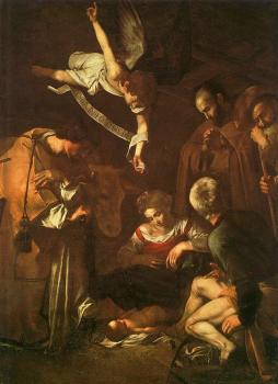 Caravaggio : The Nativity with Saints Francis and Lawrenc