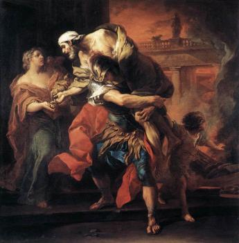 Carle Van Loo : Aeneas Carrying Anchises