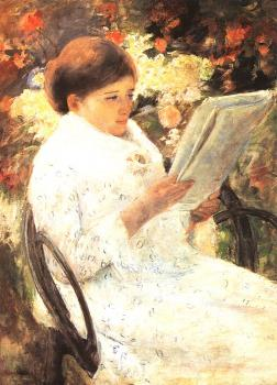 Mary Cassatt : Woman Reading in a Garden