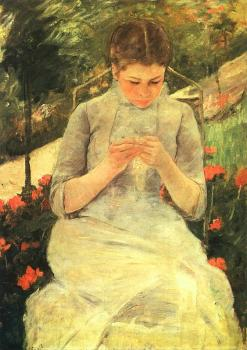 Cassatt, Mary - Girl Sewing (Femme Cousante)