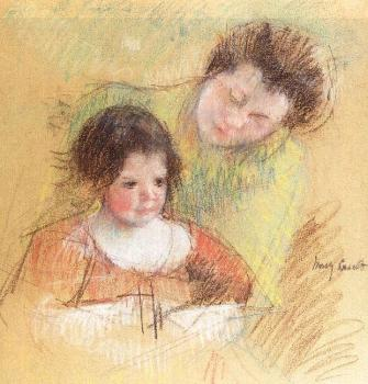 Mary Cassatt : Reine Leaning over Margot's Shoulder