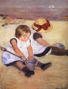 Mary Cassatt : Children Playing on the Beach