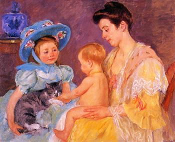 Mary Cassatt : Children Playing with a Cat