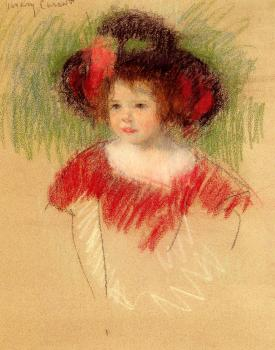 Mary Cassatt : Margot In Big Bonnett And Red Dress