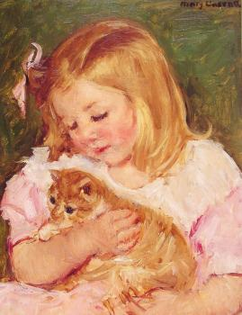 Mary Cassatt : Sara Holding A Cat