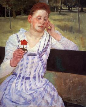 Mary Cassatt : Woman with a Red Zinnia