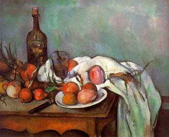 Paul Cezanne : Onions and Bottle