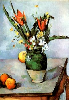 Cezanne, Paul - Still Life with Tulips and Apples