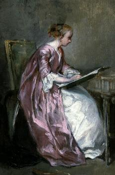 Charles Chaplin : A young girl drawing