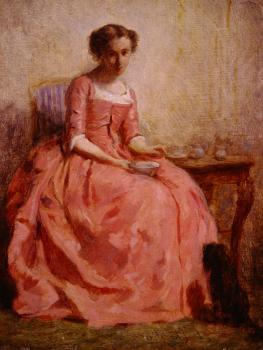 Charles Chaplin : Girl in a pink dress reading with a dog
