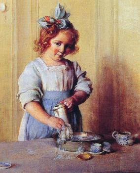 Charles Courtney Curran : Washing Dishes Emily and Her Tea Set