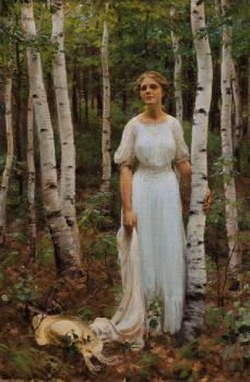 Charles Courtney Curran : Woodland Solitude